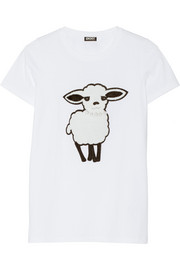 Lunar New Year sheep appliquéd cotton-jersey T-shirt