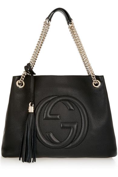 Gucci - Soho Medium Textured-leather Shoulder Bag - Black