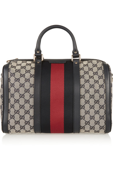 Gucci - Vintage Web Leather-trimmed Coated-canvas Tote - Beige
