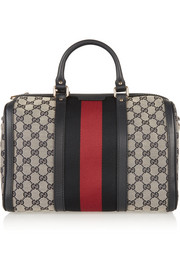 Gucci Vintage Web leather-trimmed coated-canvas tote