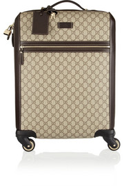 Gran Turismo leather-trimmed coated-canvas travel trolley