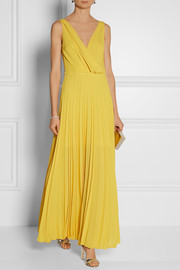 Cédric Charlier Pleated chiffon gown