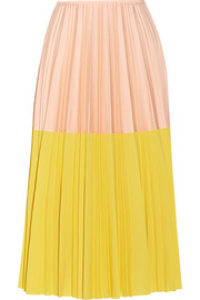 Two-tone pleated crepe midi skirt