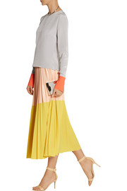 Cédric Charlier Two-tone pleated crepe midi skirt