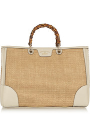 Gucci Bamboo Shopper large textured-leather and straw tote