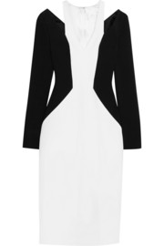 Cutout jersey-crepe dress