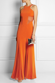 Mesh-paneled stretch-satin jersey gown