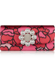 Marc Jacobs Double Trouble embellished printed silk clutch