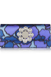 Double Trouble embellished printed silk clutch