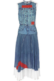 Denim-print voile dress