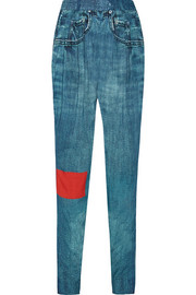 Lexington denim-print jersey tapered pants