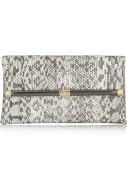 Diane von Furstenberg 440 Envelope metallic snake-effect leather clutch