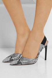 Diane von Furstenberg Blaire snake-effect leather slingback pumps