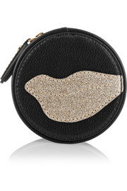 Diane von Furstenberg Glitterati appliquéd leather jewelry pouch