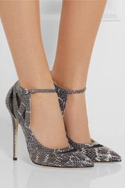 Brian Atwood Ingrid mesh-paneled elaphe pumps