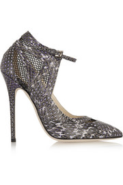 Ingrid mesh-paneled elaphe pumps