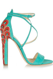 Brian Atwood Sonya embellished suede sandals