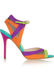 Brian Atwood Iara mesh-paneled color-block suede sandals