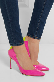 Mercury suede-trimmed patent-leather pumps