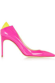 Brian Atwood Mercury suede-trimmed patent-leather pumps
