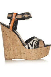 Brian Atwood Isotta leather, raffia and calf hair wedge sandals