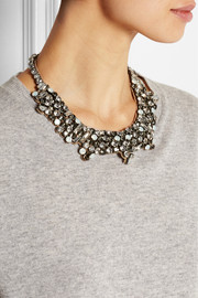 Dark Glamorous silver-tone crystal necklace
