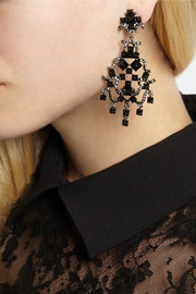 Valentino Enameled ruthenium-tone clip earrings