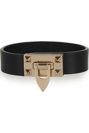 Valentino Metal Glam leather and gold-tone bracelet