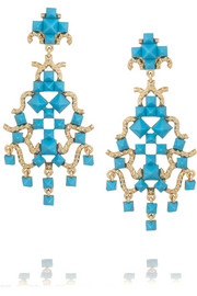Valentino Enameled gold-tone clip earrings