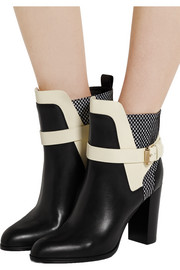 Woven-paneled leather boots