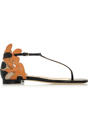 Cutout elaphe and suede sandals