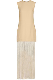 + NOMIA fringed piqué maxi dress