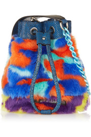 Mini Bucket leather-trimmed faux fur shoulder bag
