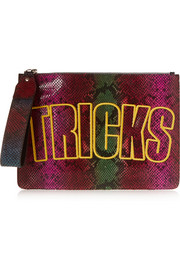 Bag Of Tricks embroidered snake-effect leather clutch