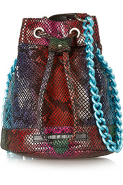 House of Holland Mini Bucket snake-effect leather shoulder bag