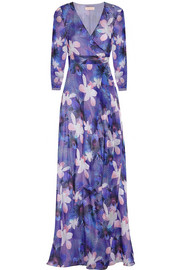Printed silk-chiffon wrap gown