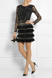 Matthew Williamson Embellished lace and chiffon mini dress