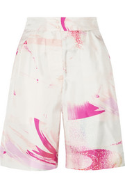 Matthew Williamson Printed silk-twill shorts