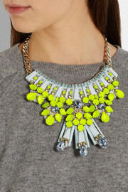 Matthew Williamson Gold-plated, crystal and acrylic necklace