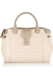 Two-tone crocodile tote