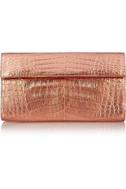 Metallic crocodile clutch