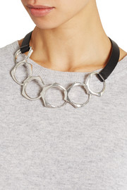 Leather and silver-plated necklace