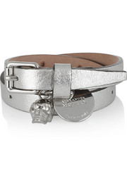 Metallic leather and Swarovski crystal wrap bracelet