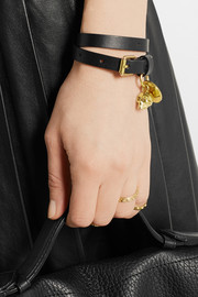 Alexander McQueen Leather and Swarovski crystal wrap bracelet