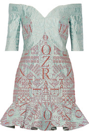 Mary Katrantzou De Bau glitter-embellished alphabet-jacquard mini dress