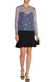 Mary Katrantzou Glitter-embellished tulle top