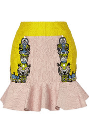 L two-tone alphabet-jacquard mini skirt