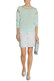 Richard Nicoll Tulle-paneled merino wool sweater