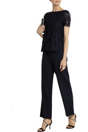 Avalon guipure lace and stretch-wool jumpsuit