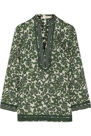 Tory floral-print cotton-voile tunic